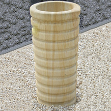 Contemporary Ribbed Straight Planter Teak Sandstone - Large