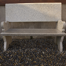 Backed Bench with Arm Rests Grey Granite