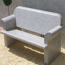 Backed Bench with Swooped Arm Rests Grey Granite