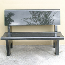 Polished Black Granite Backed Bench