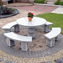 Ornamental Round Table with 4 Benches and Umbrella Hole Grey Granite