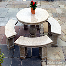 Ornamental Round Table with 4 Benches and Umbrella Hole Oatmeal Granite